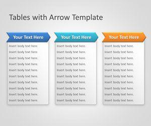 Tables with arrow powerpoint template for Table design in powerpoint