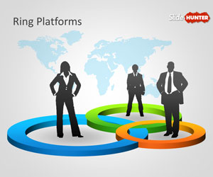 3D Ring Platforms PowerPoint Template