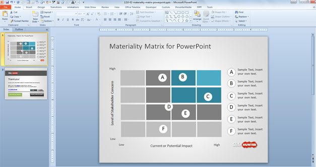Simple Materiality Matrix Template for PowerPoint