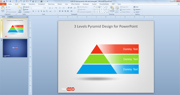 Free 3 Levels Pyramid Design PowerPoint Template