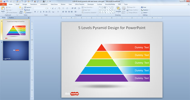 Free Pyramid template diagram with 5 steps