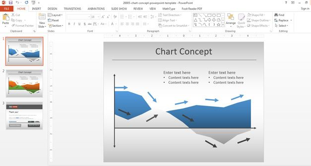 Example of area chart template with blue area and arrows in PowerPoint presentation - Office 2013