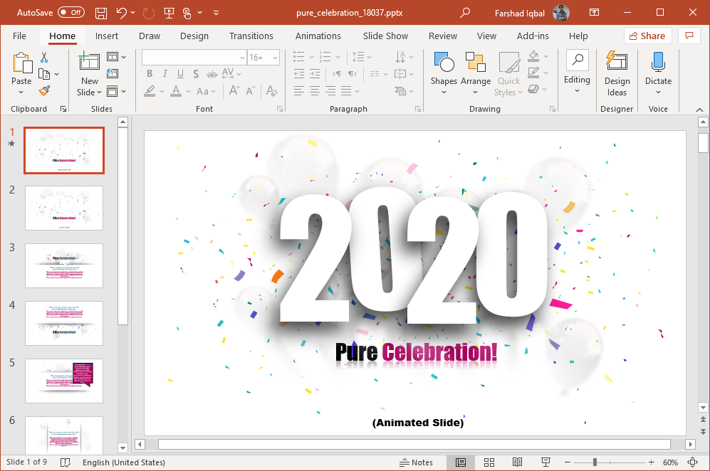 2020 celebration powerpoint template