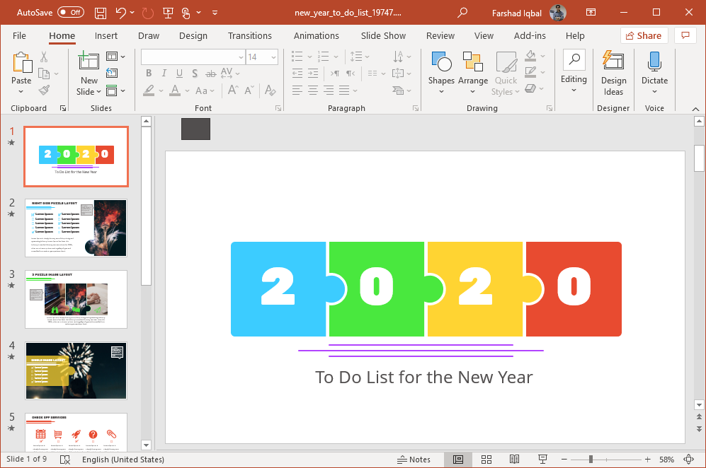 2020 new year to do list powerpoint template