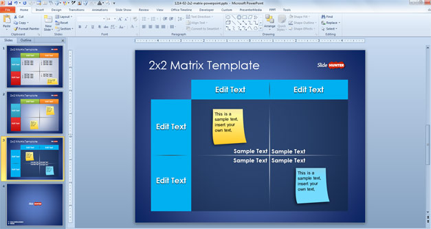 Plantilla de Matriz 2x2 para PowerPoint