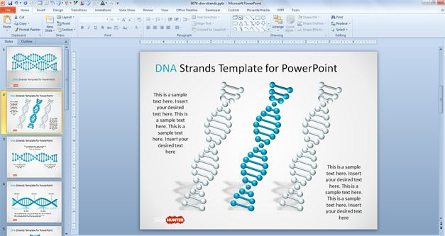 3 DNA Strands for PowerPoint with Helix shape