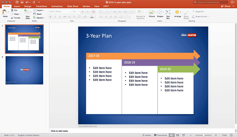 3-year plan template for Microsoft PowerPoint