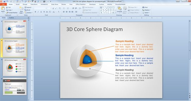 Multi layered 3D sphere design diagram for PowerPoint presentations