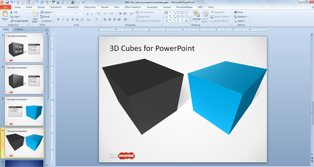 Free 3D Cube Shape for PowerPoint with Perspective