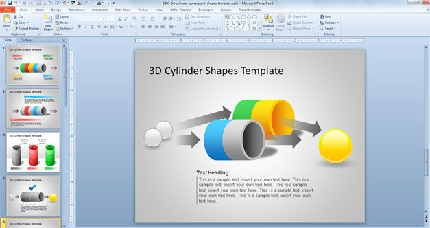 cylinder powerpoint template shape