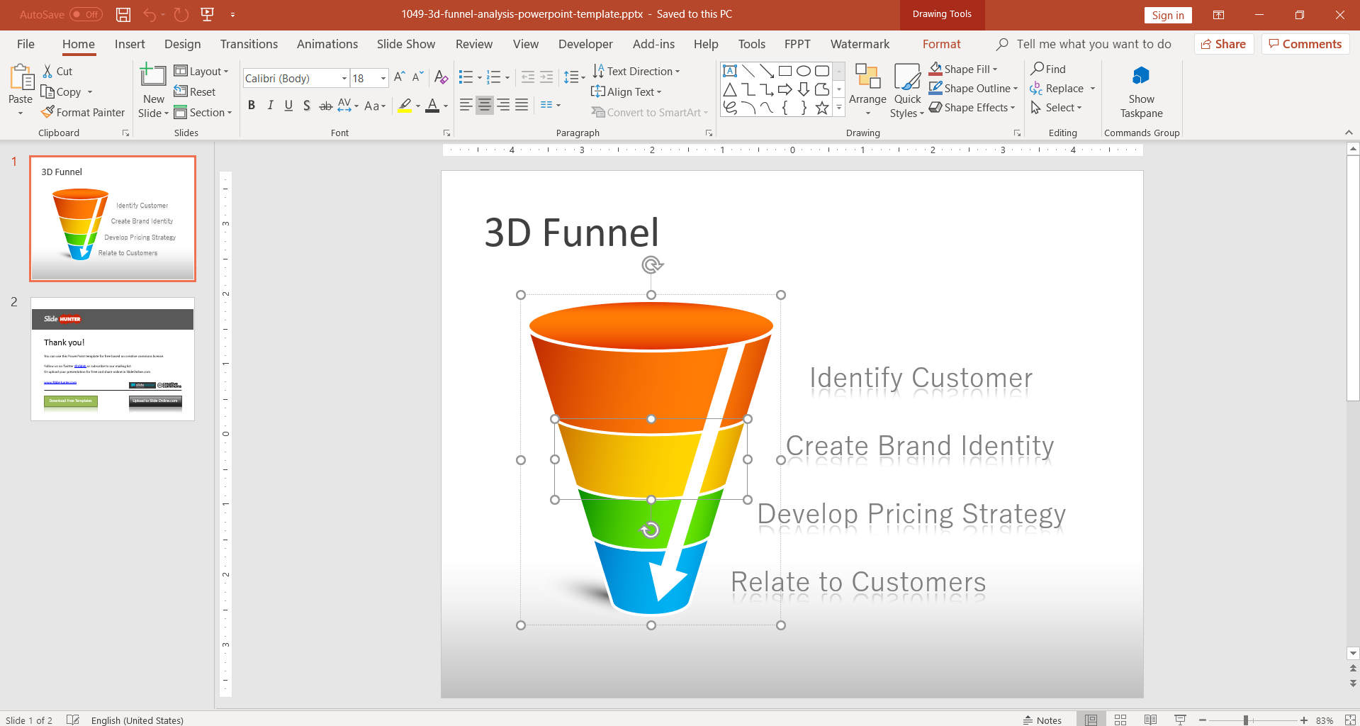 Editable 3D Funnel PowerPoint template