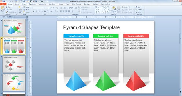 Example of 3D Pyramid shape in a PowerPoint presentation template ready to be used in Microsoft PowerPoint presentations
