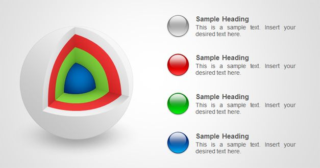 Awesome 4 steps sphere with kernel in PowerPoint slide design