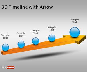 Plantilla PowerPoint con Línea de Tiempo 3D y Flecha