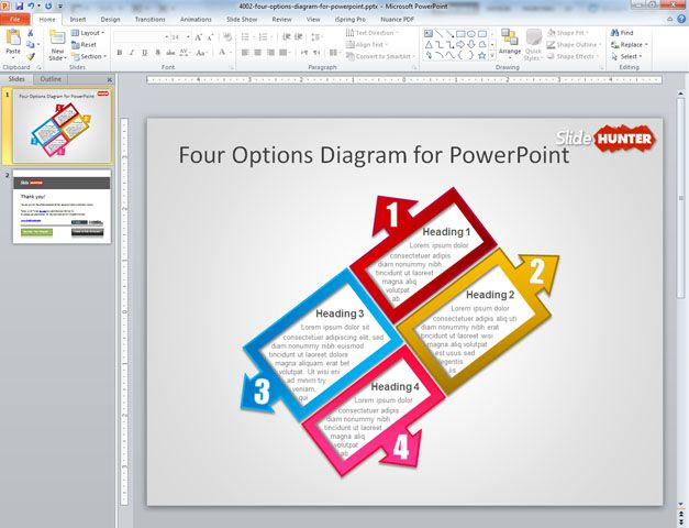 Simple four step diagram created with PowerPoint and shapes using different colors, styles and arrows in different directions