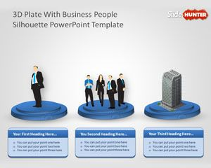 3D Plate with Business People Sillhoutte PowerPoint Template