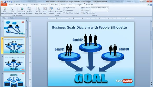 Free Business Goals Diagram Template for PowerPoint With People Silhouette