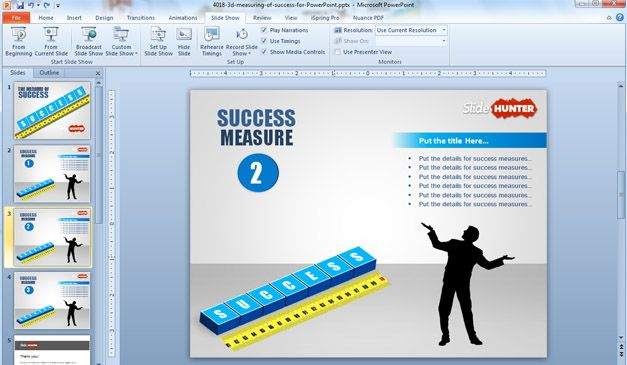 Measuring Success PowerPoint Template with 3D blocks (scribble) and yellow meter