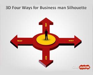 3D Four Arrows PowerPoint Template