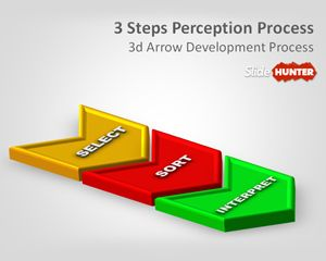 3D Three Steps Perception Process PowerPoint Template