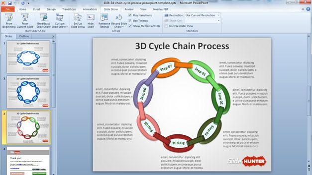 Free Circular Chain Diagram for PowerPoint Presentations