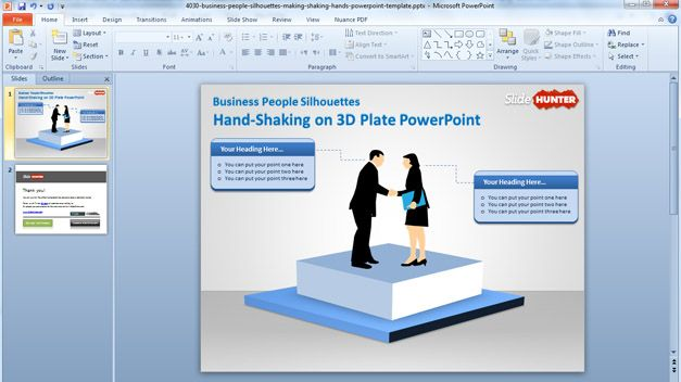 Free Handshake Powerpoint Template With 3d Stage