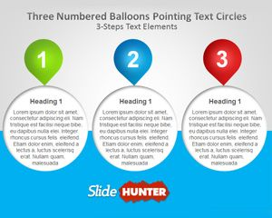 Three Numbered Balloons PowerPoint Template
