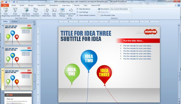 Free Balloons Powerpoint Template For Brainstorming