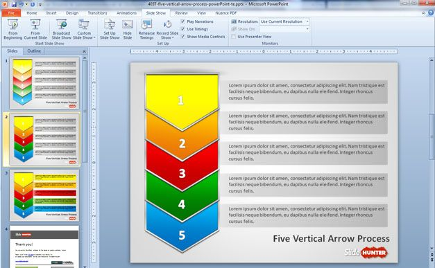 Five Vertical Arrows Process PowerPoint Template with different slide designs for PowerPoint
