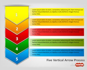 Five Vertical Arrows Process PowerPoint Template