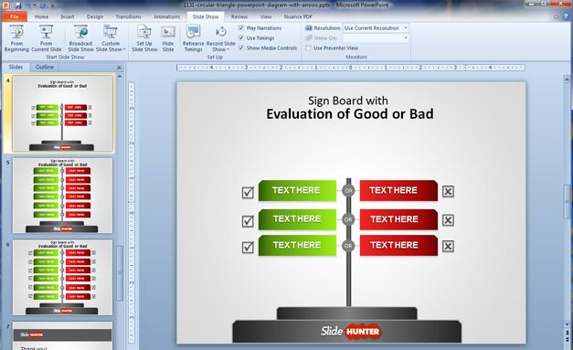 Free Sign Board Powerpoint Template For Comparison