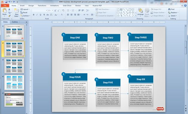 Business Development Process PowerPoint Template with Textboxes