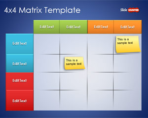4×4 Matrix Template for PowerPoint