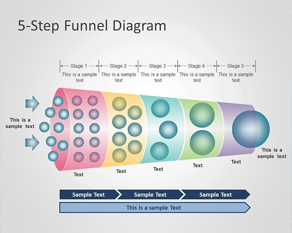 5-Step Horizontal Funnel Diagram PowerPoint Template