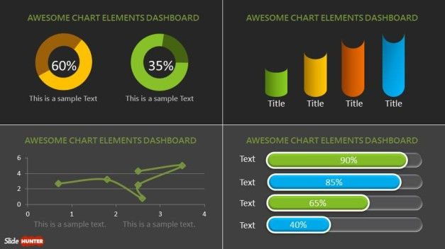 Dashboard PowerPoint Template with custom components layout