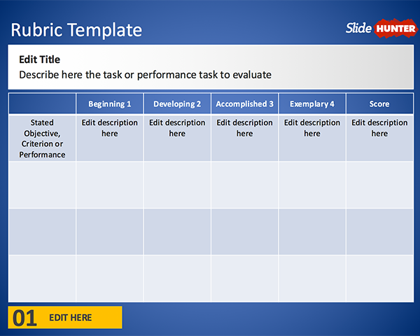 Free Rubric Template for PowerPoint