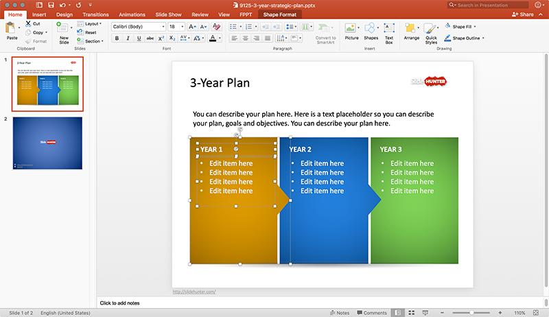 Free 3 Year Strategic Plan Powerpoint Template Free Powerpoint Templates Slidehunter Com