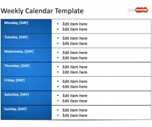 Weekly Blank Calendar Template for PowerPoint