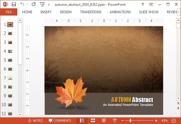 Abstract autumn PowerPoint template