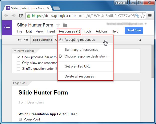 Accept survey form response