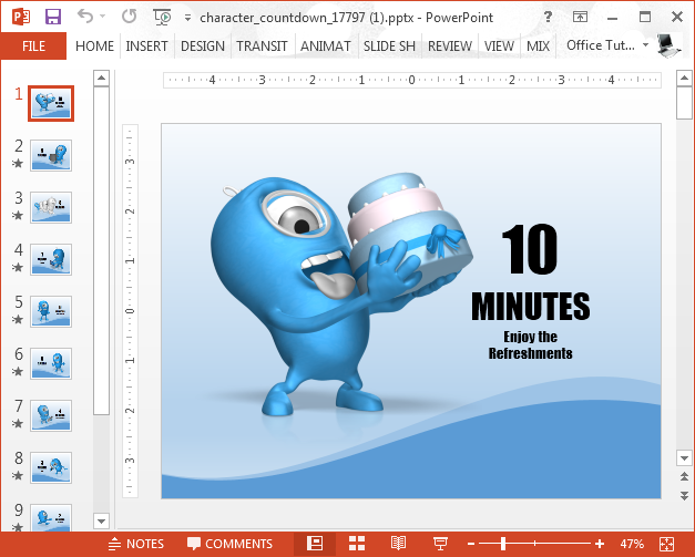 Animated 10 minute countdown PowerPoint template