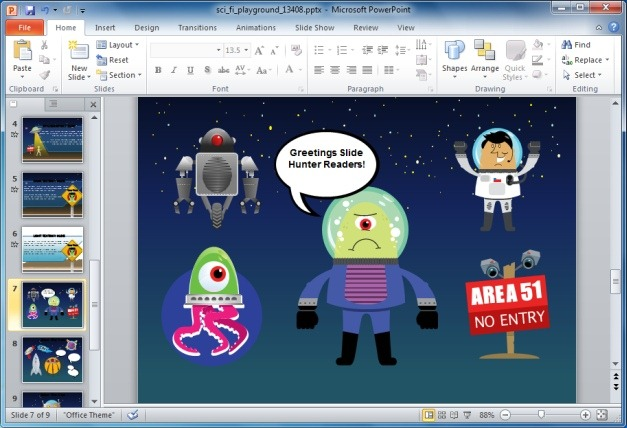 Animated Alien PowerPoint Template