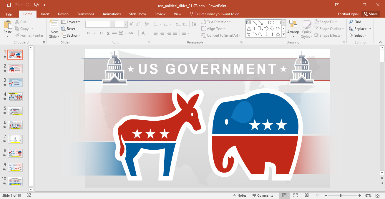 Animated American Politics PowerPoint Template