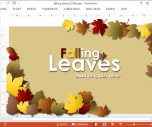Autumn PowerPoint Template With Falling Leaves Animation