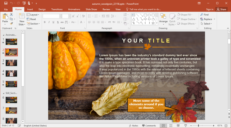 Animated Autumn Woodgrain Thanksgiving Powerpoint Template