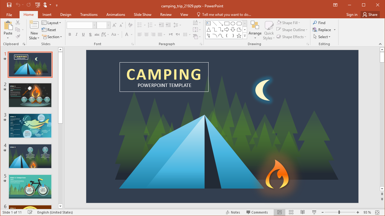 Animated Camping PowerPoint Template
