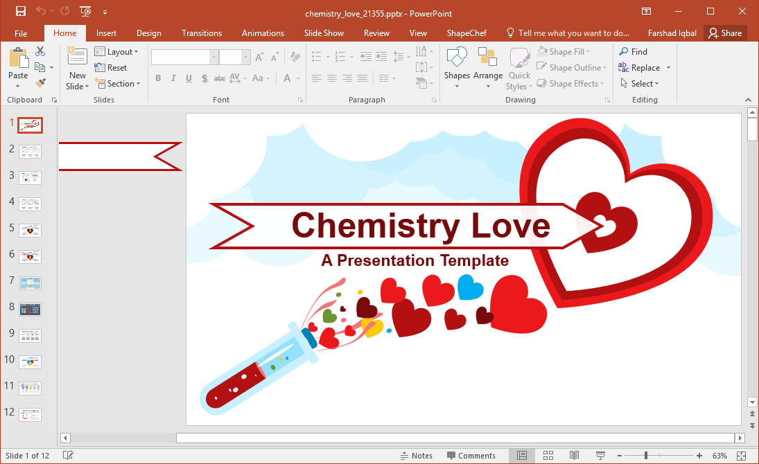 Animated Chemistry Love Powerpoint Template