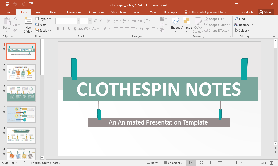Animated Clothespin Notes PowerPoint Template