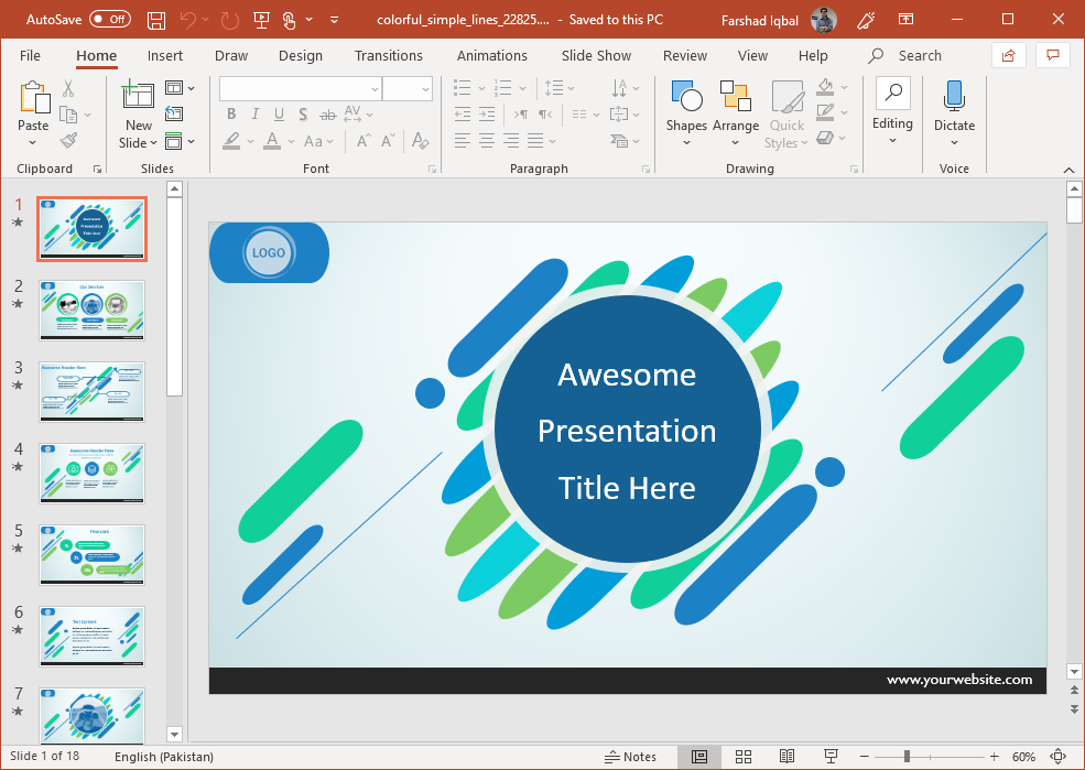 Animated Colorful Simple Lines PowerPoint Template