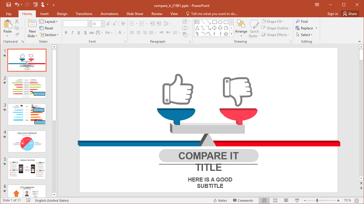 Animated Comparison PowerPoint Template